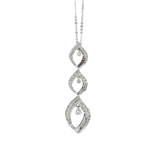 18ct White Gold Diamond Three Tier Pendant, 0.28ct