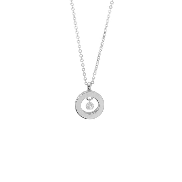 18ct White Gold Circle Pendant, 0.05ct