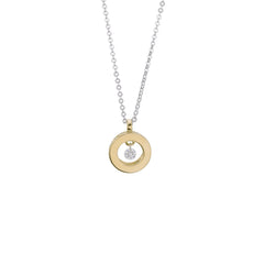 18ct Yellow Gold Circle Pendant, 0.05ct