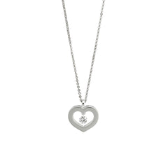 18ct White Gold Heart Pendant, 0.13ct