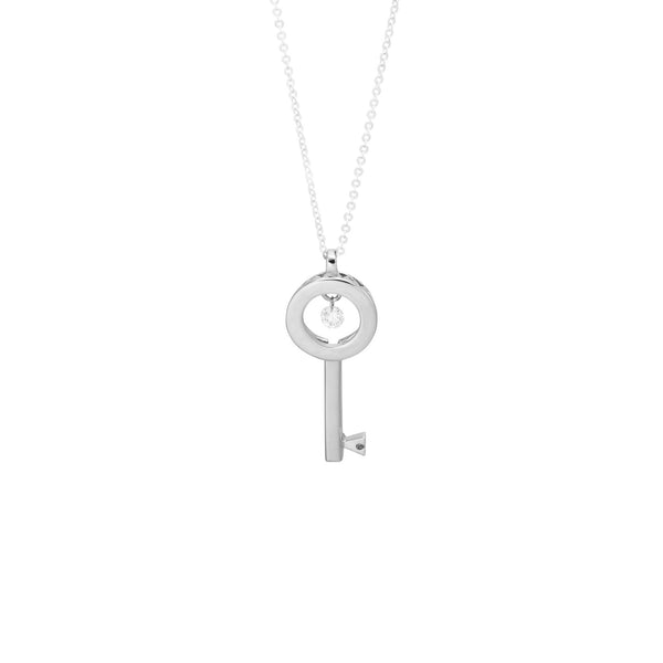 18ct White Gold Key Pendant, 0.06ct