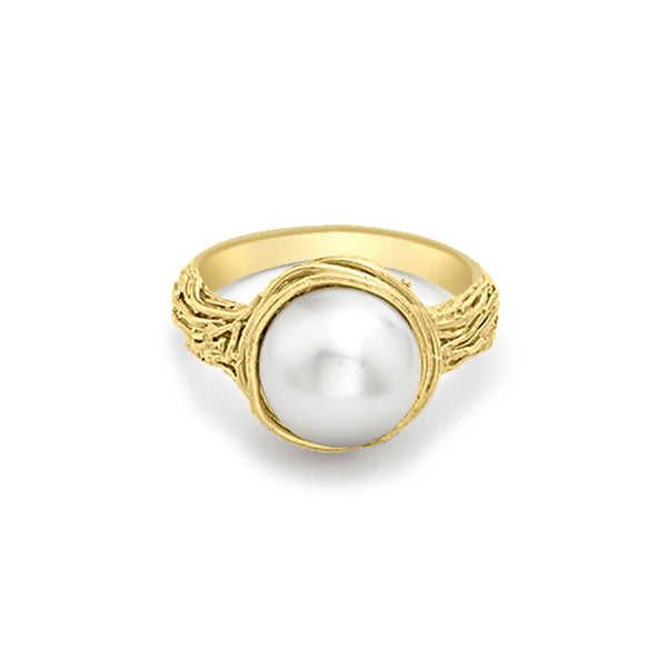 9ct Yellow Gold Willow Pearl Ring