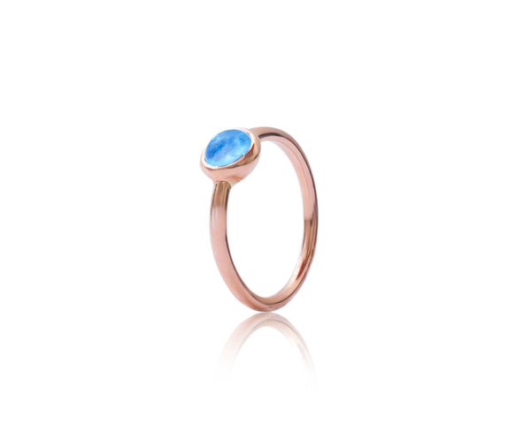 9ct Rose Gold Blue Topaz Bubble Stacking Ring
