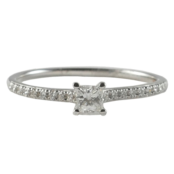 18ct White Gold Diamond Engagement Ring, 0.18ct