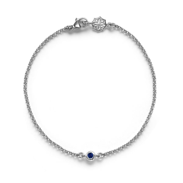 9ct White Gold Chain Bracelet with Blue Sapphire