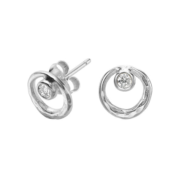 Sterling Silver Open Circle White Topaz Dewdrop Stud Earrings