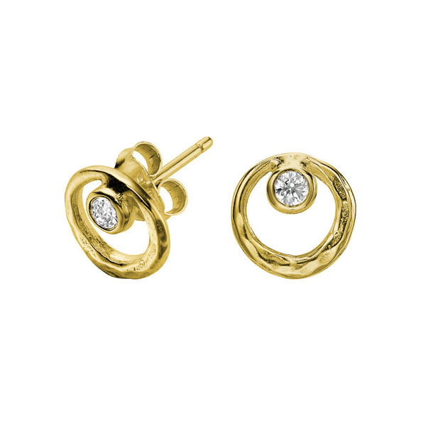 18ct Gold Vermeil Open Circle White Topaz Dewdrop Stud Earrings