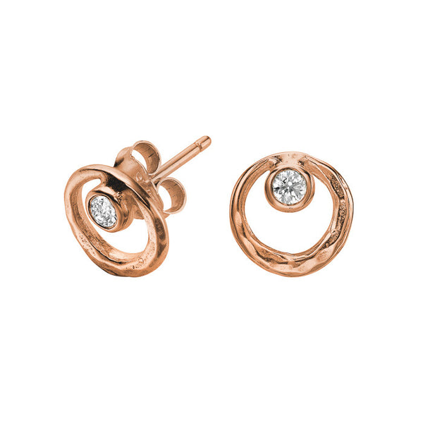 18ct Rose Gold Vermeil Open Circle White Topaz Dewdrop Stud Earrings