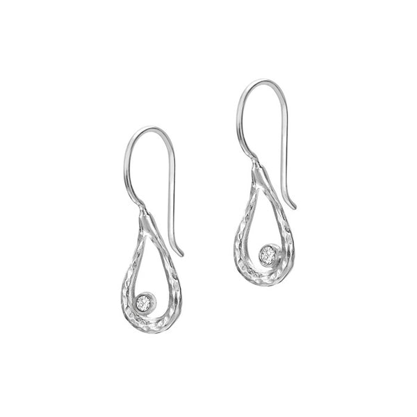 Sterling Silver Open Teardrop White Topaz Dewdrop Earrings