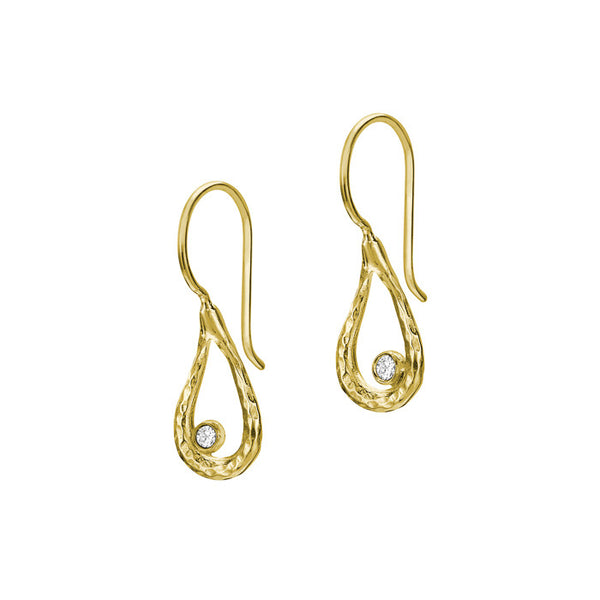 18ct Gold Vermeil Open Teardrop White Topaz Drop Earrings