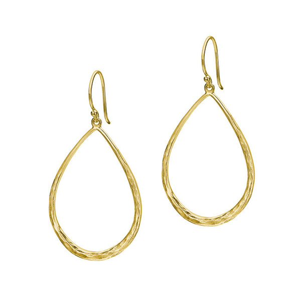 18ct Gold Vermeil Large Teardrop Shape Drop Earrings