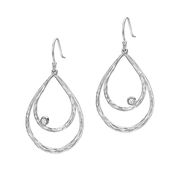 Sterling Silver Large Double Teardrop White Topaz Dewdrop Earrings