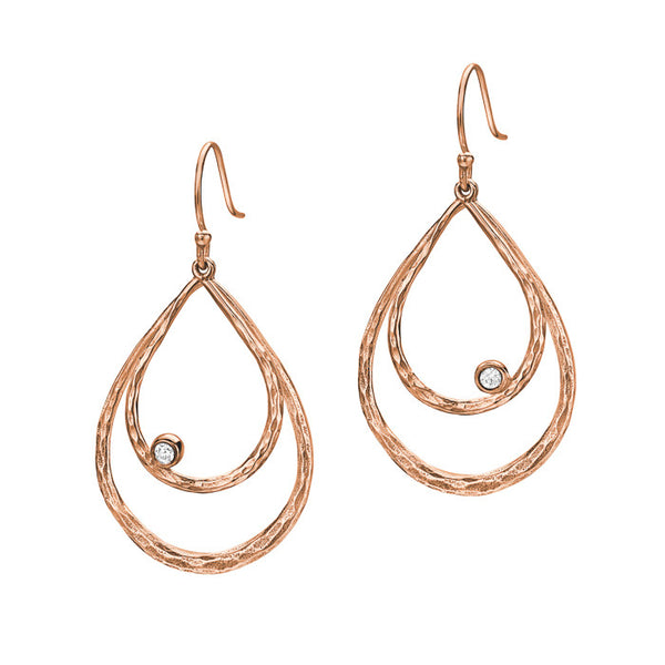 18ct Rose Gold Vermeil Large Double Teardrop White Topaz Drop Earrings