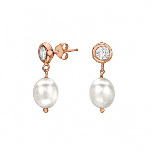 18ct Rose Gold Vermeil White Topaz & White Pearl Drop Earrings