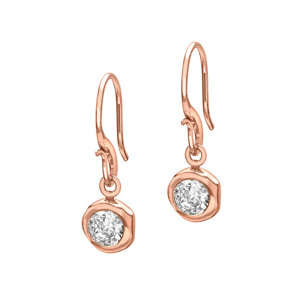 18ct Rose Gold Vermeil 5mm White Topaz Drop Earrings