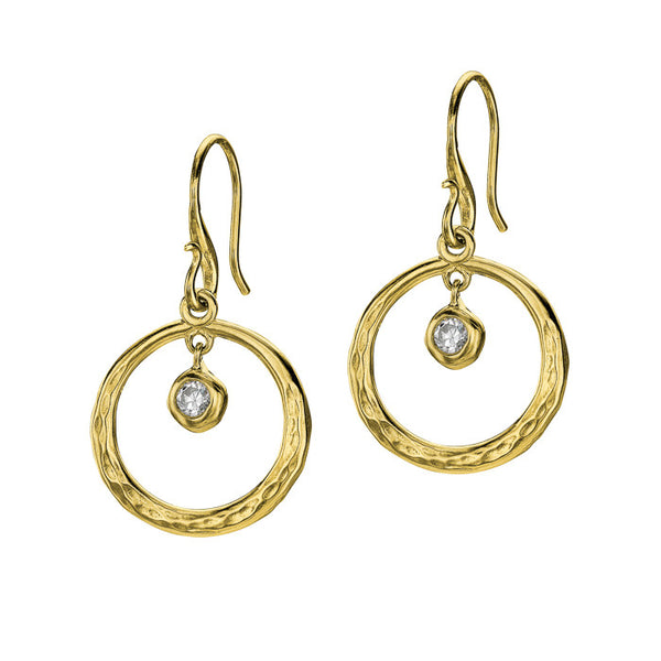 18ct Gold Vermeil Open Circle White Topaz Drop Earrings