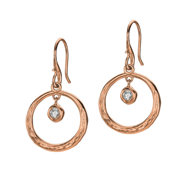 18ct Rose Gold Vermeil Open Circle White Topaz Drop Earrings