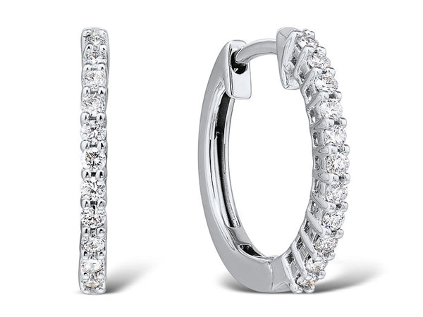 18ct White Gold Diamond Hinged Hoop Earrings, 0.26ct