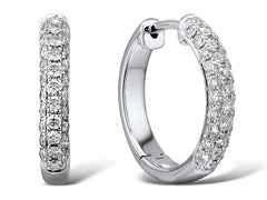 18ct White Gold Diamond Hinged Hoop Earrings, 0.66ct