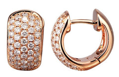18ct Rose Gold Pave Set Diamond Hinged Hoop Earrings, 0.97ct