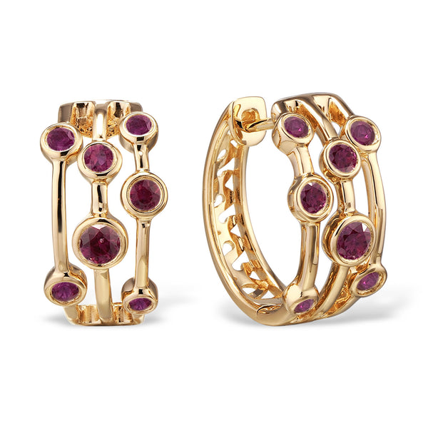 18ct Yellow Gold Ruby Scatter Hoop Earrings
