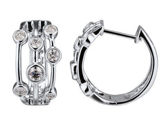 18ct White Gold Diamond Scatter Hoop Earrings, 0.52ct