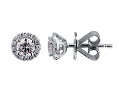 18ct White Gold Diamond Halo Cluster Stud Earrings, 0.42ct