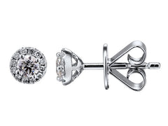 18ct White Gold Diamond Halo Cluster Stud Earrings, 0.22ct