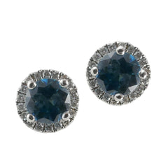 18ct White Gold Blue Zircon & Diamond Cluster Stud Earrings