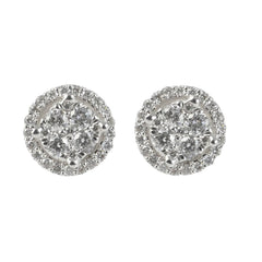 18ct White Gold Diamond Cluster Stud Earrings, 0.41ct