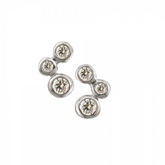 9ct White Gold Diamond Set Bubble Stud Earrings, 0.20ct