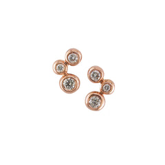 9ct Rose Gold Diamond Set Bubble Stud Earrings, 0.20ct