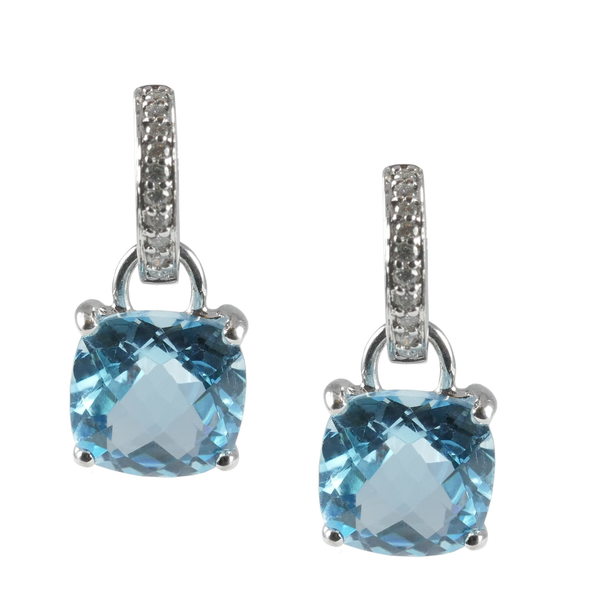 18ct White Gold Blue Topaz & Diamond Drop Earrings, 10.99cts