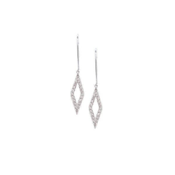 9ct White Gold Diamond Geo Drop Earrings, 0.20ct