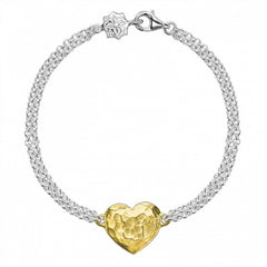 18ct Gold Vermeil & Sterling Silver Engravable Heart Bracelet