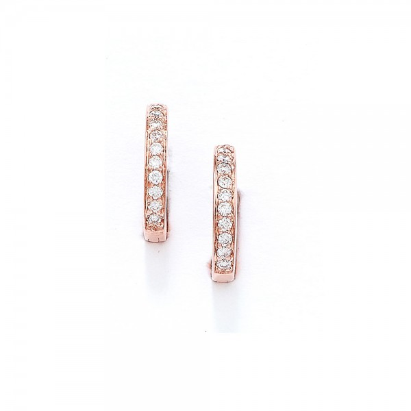 9ct Rose Gold Diamond Hoop Earrings, 0.13ct