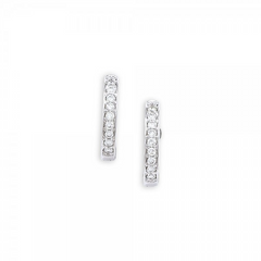 9ct White Gold Diamond Hoop Earrings, 0.13ct