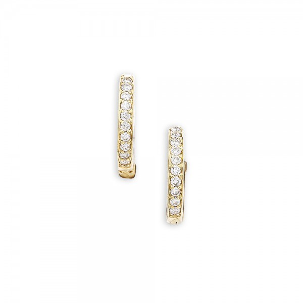 9ct Yellow Gold Diamond Hoop Earrings, 0.13ct