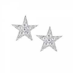 9ct White Gold Diamond Star Stud Earrings, 0.11ct