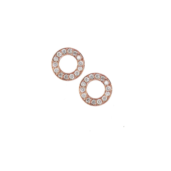 9ct Rose Gold Diamond Set Meridian Stud Earrings, 0.15ct