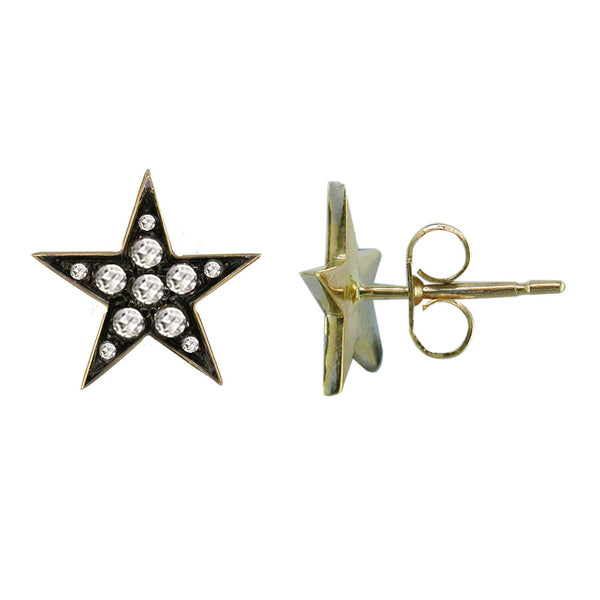 9ct Yellow Gold Rose Cut Diamond Star Earrings