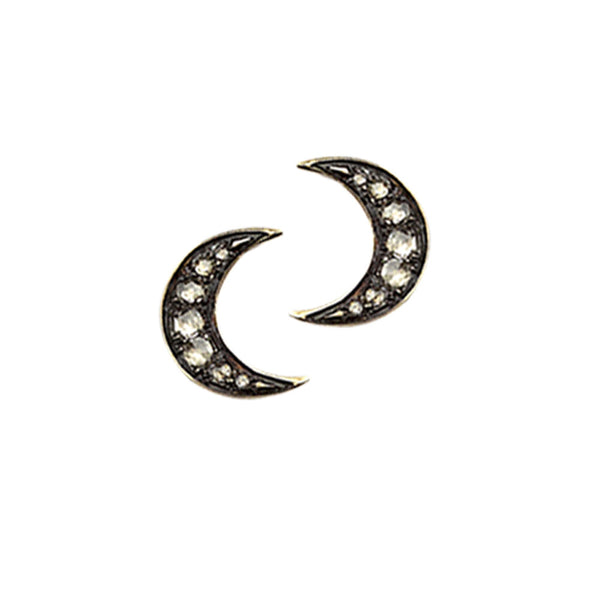 9ct Yellow Gold Pave Set Rose Cut Diamond Moon Earrings