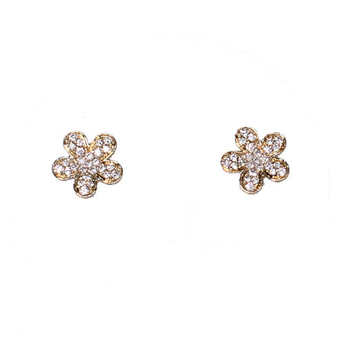 18ct Yellow Gold Diamond Set Flower Stud Earrings, 0.13ct