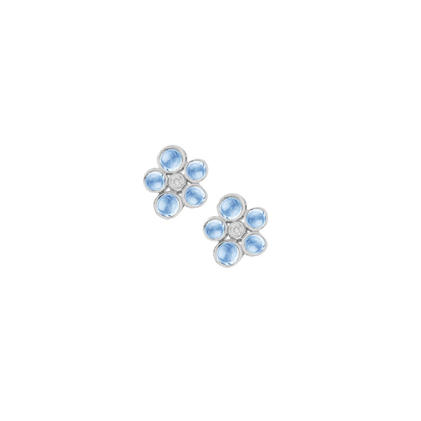 9ct White Gold Diamond and Blue Topaz Bubble Cluster Stud Earrings, 0.04ct