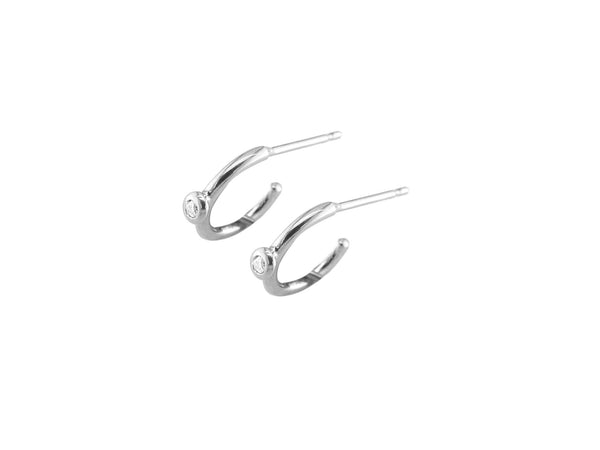 9ct White Gold Diamond Hoop Earrings, 0.02ct