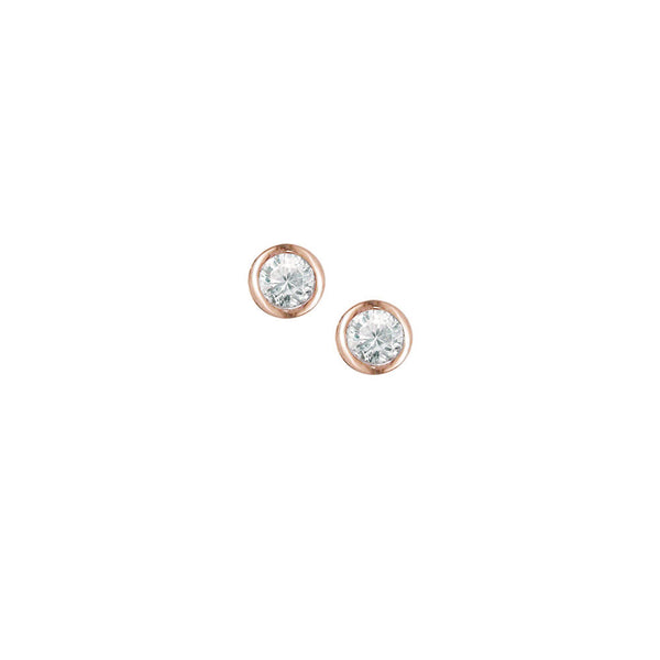9ct Rose Gold Diamond Solitaire Earrings
