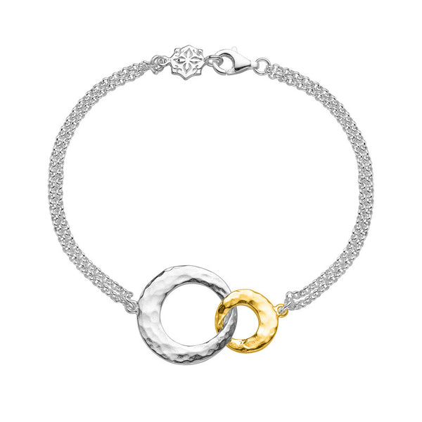 Sterling Silver & 18ct Gold Vermeil Entwined Double Open Circle Bracelet