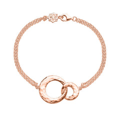18ct Rose Gold Vermeil Entwined Double Open Circle Bracelet