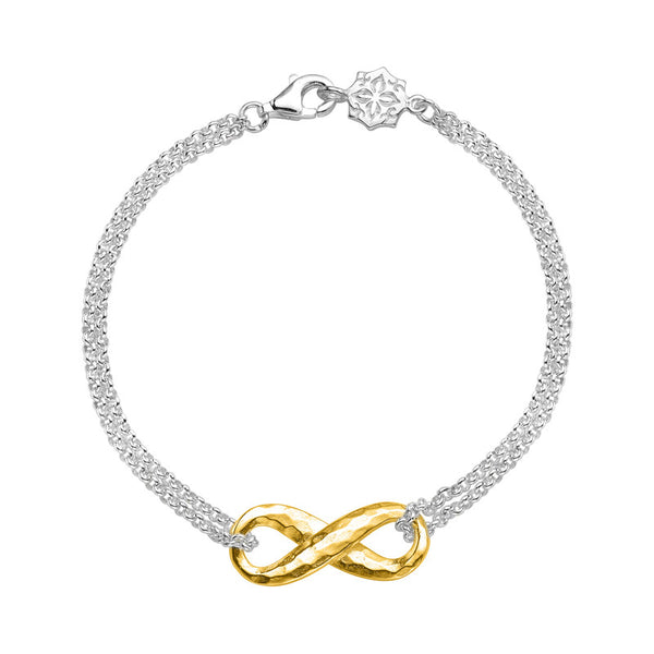 Sterling Silver & 18ct Gold Vermeil Entwined Infinity Bracelet