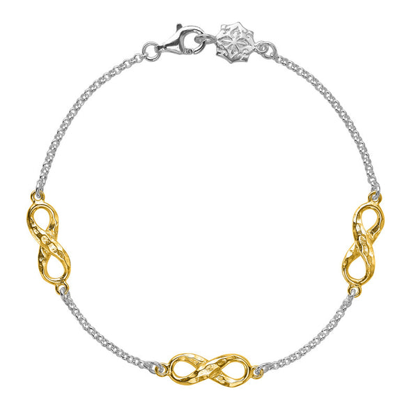 Sterling Silver & 18ct Gold Vermeil Entwined Triple Infinity Bracelet